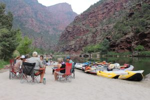 Gorgeous riverside campsite on the Green River through Gates of Lodore canyon in Dinosaur National Monument Colorado